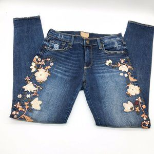 Driftwood Marilyn Embroidered Skinny Jeans 26 Dark